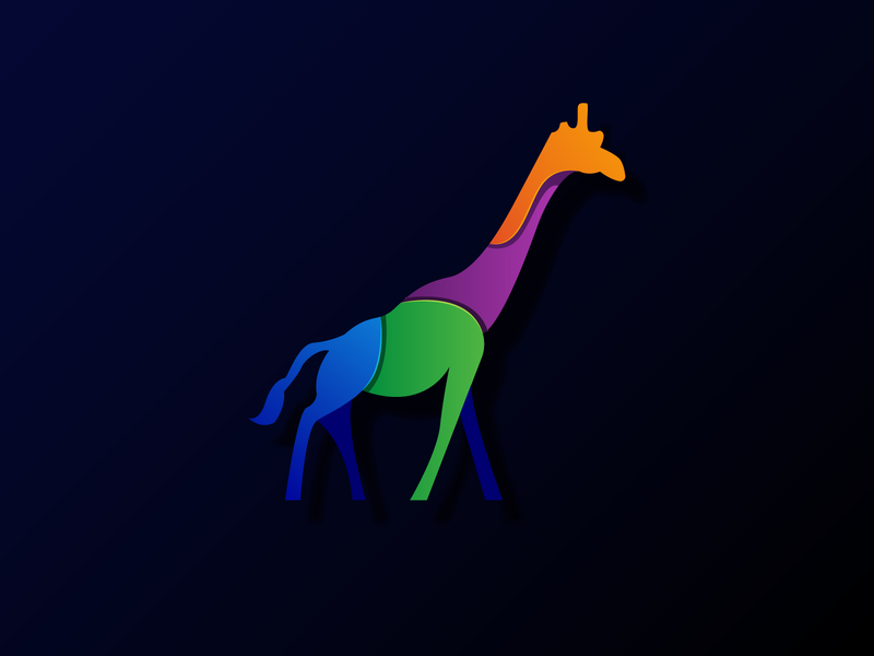 Colorful Giraffe Design vector design art illustrator animals branding app logo illustration