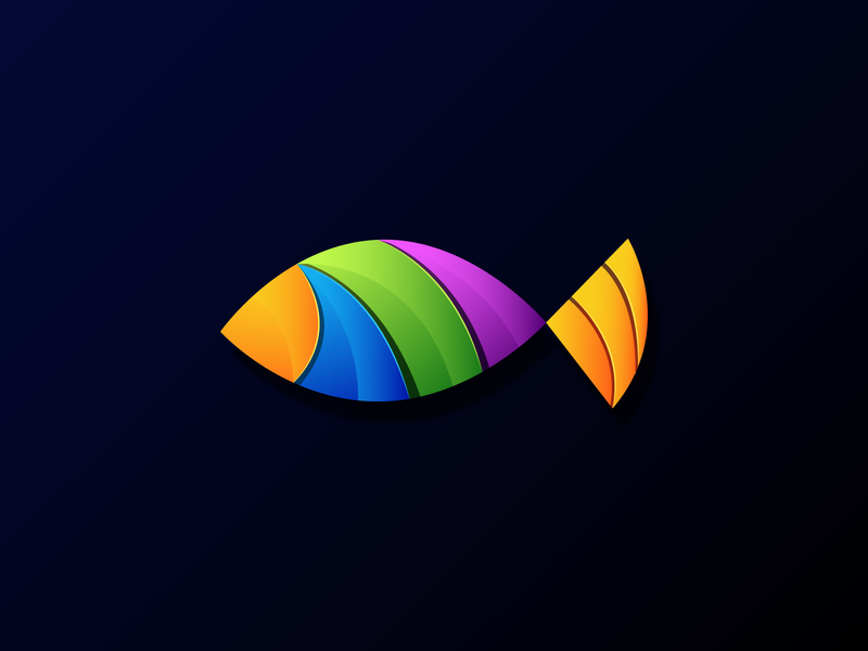 unique fish design art illustrator colorful animals icon branding app logo illustration