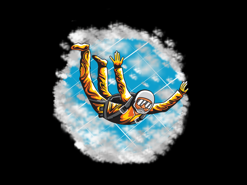Sky Diving skydiving sport design art illustrator colorful icon branding app logo illustration