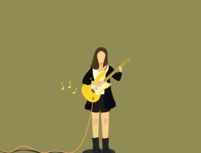 Baek Yerin's yellow guitar indie music square bunny music inspiration digital digitalart drawing art design graphicdesign minimal character illustration illustration electric guitar yellow guitar guitar