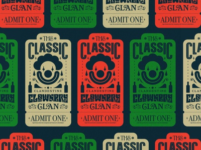 the classic clandestine clownery clan design typography graphic design illustration