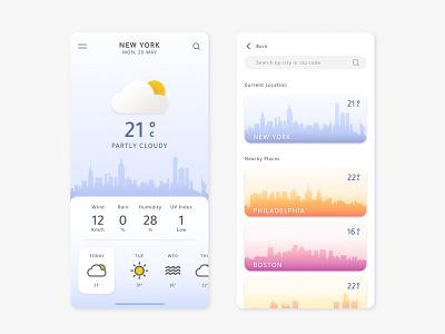 Weather App illustration gradients minimal weather forecast weather app