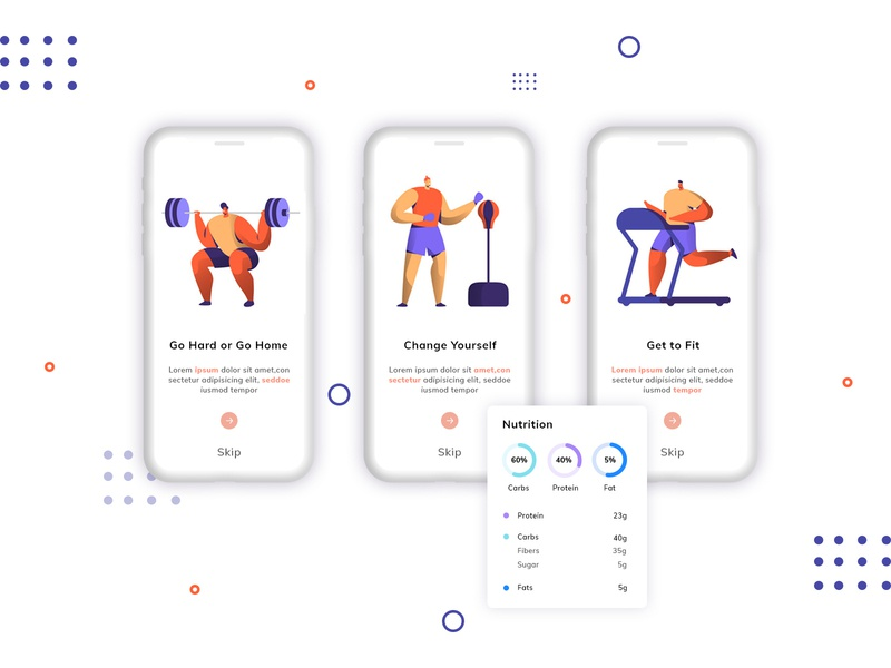 Fitness Mobile App UI gym fitness mobile app ui photoshop typography illustration branding