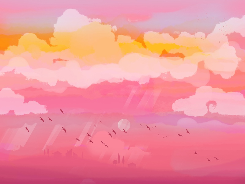 Sunset dreamy village space birds purple pink clouds sunset illustration