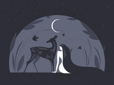 New MOON stars moonlight flowers deer nature moon woman illustration lineart graphicdesign
