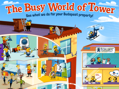 The Busy World of Tower poster illustration