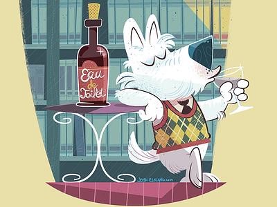 Eau De Toilet argyle dog vector humor cartoon high society drinking