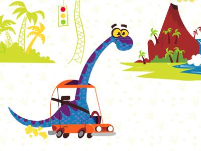 Dinosaur Driving Car
