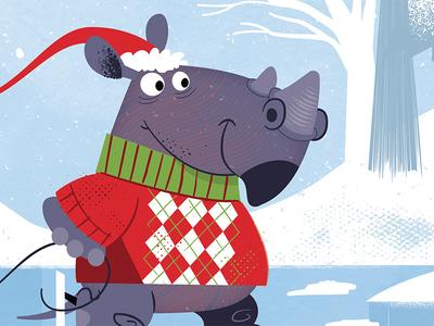 Christmas skating rhino detail