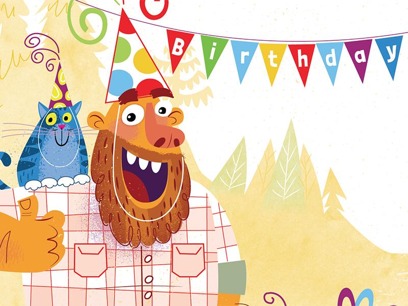 Happy Birthday Bearded Man Vector Illustration Humor Cat Beard Party Greeting Card