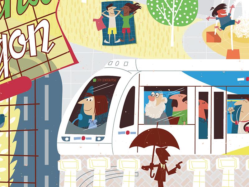 Portland West Side 3 max trimet poster cartoon vector oregon pdx portland