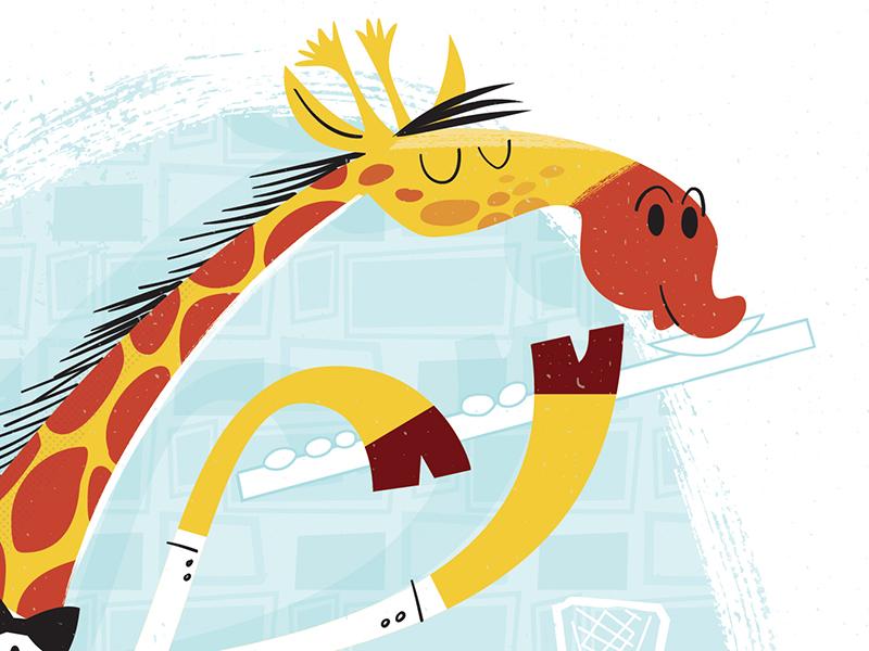 Giraffe Playing Flute Detail 1 vector illustration cartoon animals jazz instrument flute giraffe