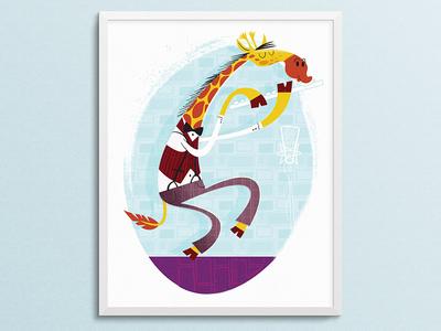 Giraffe Playing Flute Framed Mockup 1