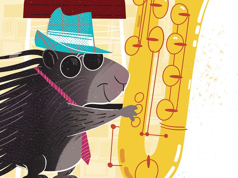 African Porcupines Playing Sax Detail 1 cartoon vector jazz saxophone porcupine