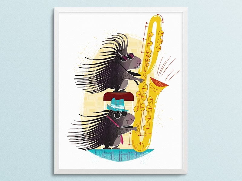 African Porcupines Playing Sax Mockup cartoon vector jazz saxophone porcupine