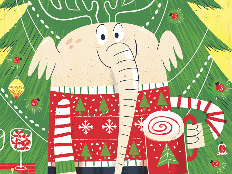 Larry The Christmas Elephant humor silly red green holidays elephant christmas