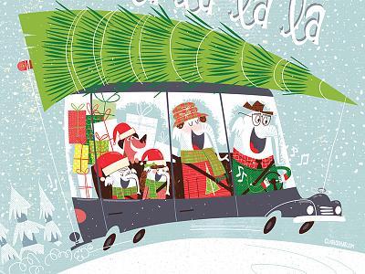Christmas Elephant Family In Car christmas tree family humor silly red green holidays elephant christmas