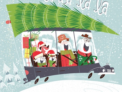Christmas Elephant Family In Car