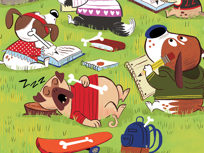k9 Academy illustration for Highlights Magazine humor park magazine illustration bones funny k9 dogs cartoon