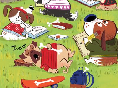 k9 Academy illustration for Highlights Magazine