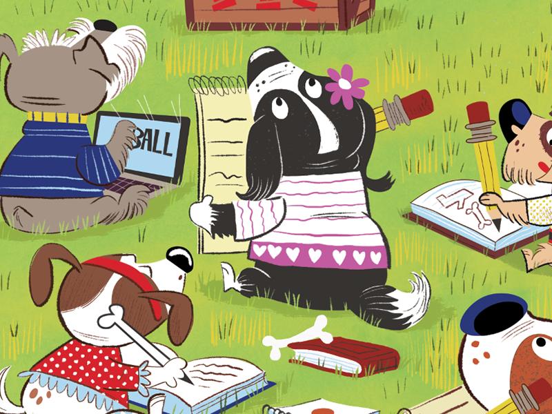 k9 Academy illustration for Highlights Magazine detail #2 humor park magazine illustration funny k9 dogs cartoon