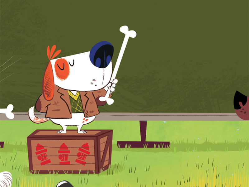 k9 Academy illustration for Highlights Magazine detail #3 humor park magazine illustration funny k9 dogs cartoon