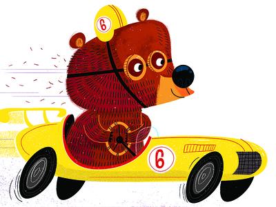 Race Car Bear art print