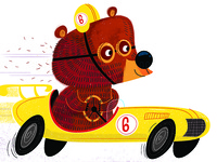 Race Car Bear art print