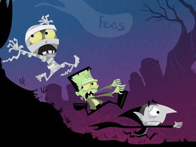 Scared Halloween Monsters halloween holiday monsters frankenstein dracula mummy ghosts graveyard night