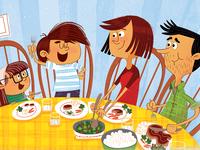 Highlights Stans Olympic Plans dinner table family magazine illustration cartoon
