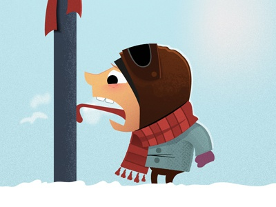 Tongue Stuck On Pole winter christmas holiday card illustration humor cold vector illustrator scarf hat gloves coat