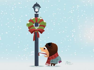 Tongue Stuck On Pole Wallpaper coat gloves hat scarf illustrator vector cold humor illustration card holiday christmas winter desktop wallpaper