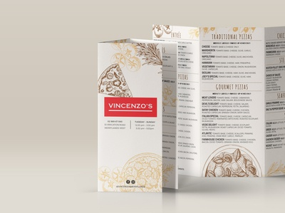 Vincenzos trifold menu
