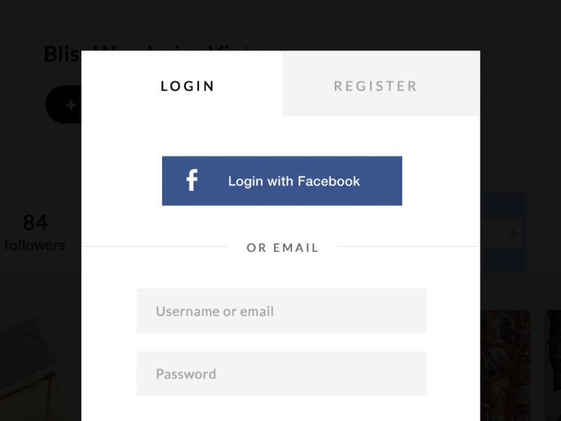 Exching Login Popup  register popup facebook flat ui simple login form with