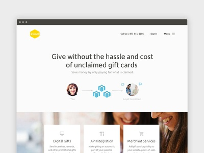 Home page - gift cards app ui app blue homepage gift website flat minimal simple avatars responsive landing page