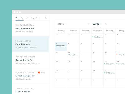 Calendar of Events app flat ux ui simple clean minimilist list calendar month recruiters events