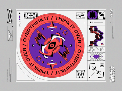 Think It Over / Overthink it grid think typographic contrast retro vectorart vector artwork red circle overthinking