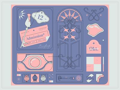 Admission admission room entrance symbols grid color palette vector art blue and pink door key