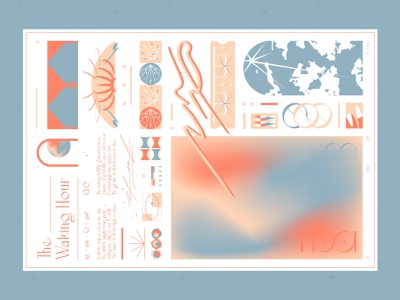 The Waking Hour contemporary illustration abstract illustration posters poster artwork plakat poster design abstract art vectorart symbols grid vector art color palette colorful blue poster art poster