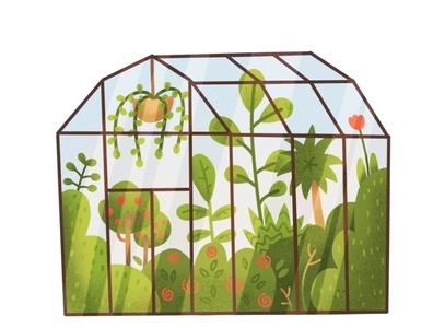 Cute Greenhouse summer palm greenhouse green hand drawn textured texture flatdesign design illustration art procreate illustration