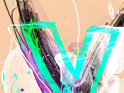 Chainletter V 01 lettering letter v watercolor pencil art mess scribble