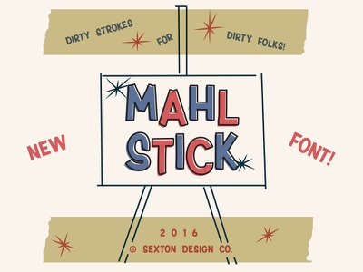 Mahl Stick brush sign retro vintage type typography font