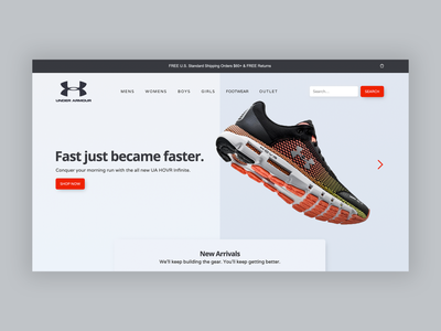 Under Armour Footwear Concept web design graphic design branding website fresh fitness fashion app ui ui design ux design app design application ux