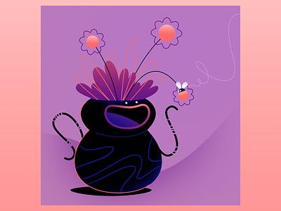 laughing vase happy vase vectorillustration characterdesign