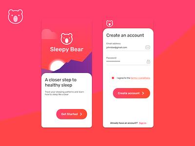 Sleepy Bear | Sleep tracking mobile app ui mobile branding form signup signin design app