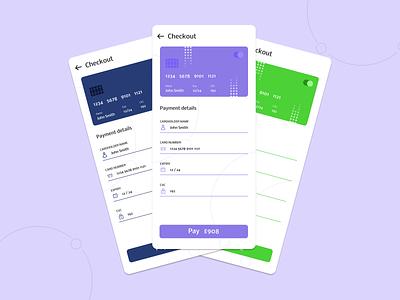 Mobile Card Checkout form ui ux mobile design app