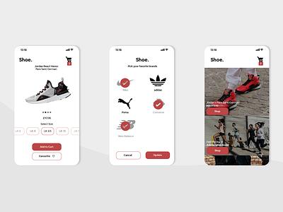 Concept Shoe store mobile app ui design illustration