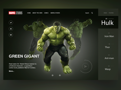 Marvel Studios Home Page Concept concept adobe photoshop home page landing web design website hulk marvel