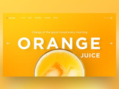 Orange Juice Home Page Concept landing page daily e-commerce juice orange ui uiux concept illustration landing home page adobe photoshop website