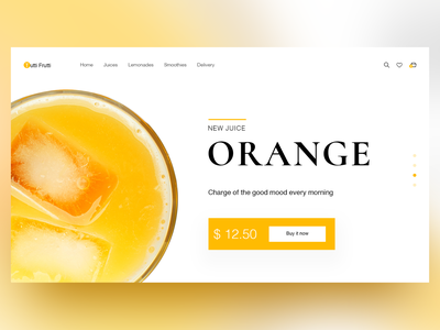 Orange Juice Home Page Concept sketch e-commerce ui web design webdesign orange juice homepage design uiux landing home page adobe photoshop website concept